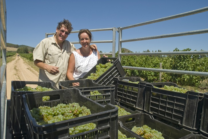 Jeremy & Emma in Southern cross vineyard 725